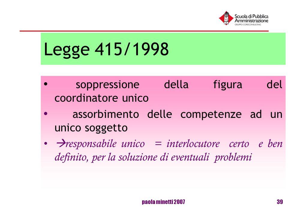 paola minetti 200739 Legge 415/1998 soppressione della figura del coordinatore unico assorbimento delle competenze ad un unico soggetto responsabile u