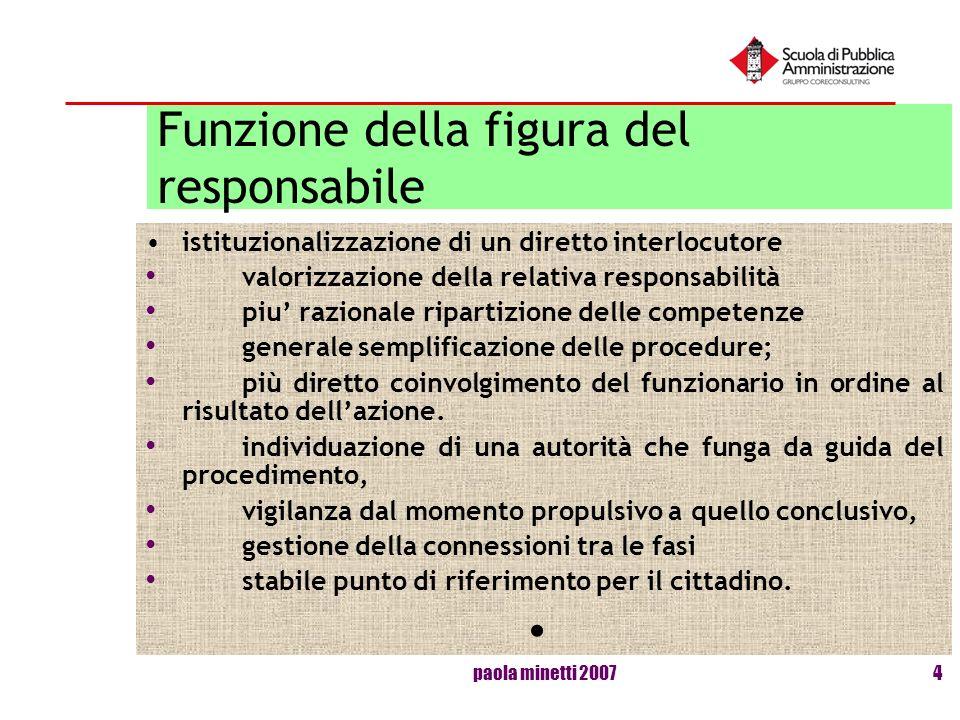 paola minetti 20074 Funzione della figura del responsabile istituzionalizzazione di un diretto interlocutore valorizzazione della relativa responsabil