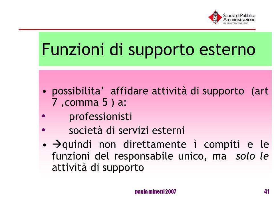 paola minetti 200741 Funzioni di supporto esterno possibilita affidare attività di supporto (art 7,comma 5 ) a: professionisti società di servizi este
