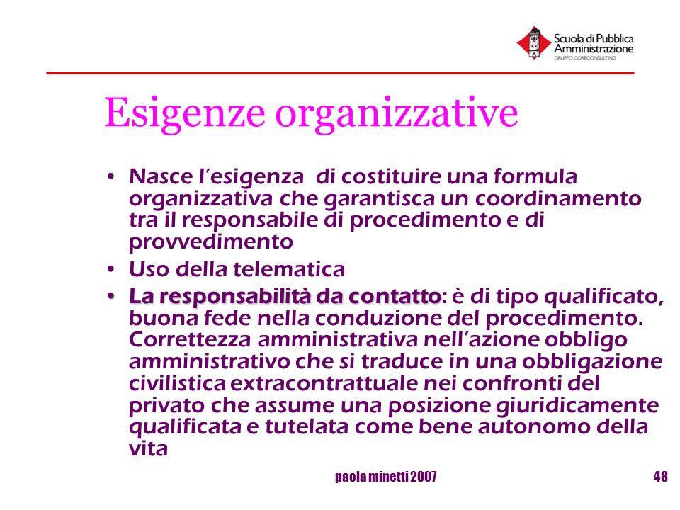 paola minetti 200748 Esigenze organizzative Nasce lesigenza di costituire una formula organizzativa che garantisca un coordinamento tra il responsabil