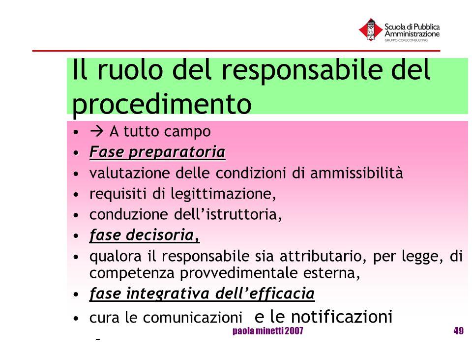 paola minetti 200749 Il ruolo del responsabile del procedimento A tutto campo Fase preparatoriaFase preparatoria valutazione delle condizioni di ammis