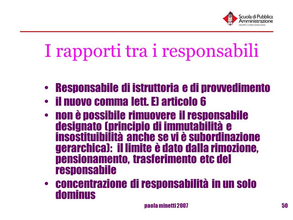 paola minetti 200750 I rapporti tra i responsabili Responsabile di istruttoria e di provvedimento il nuovo comma lett. E) articolo 6 non è possibile r