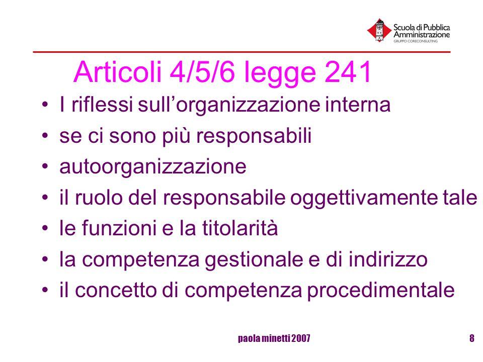 paola minetti 20078 Articoli 4/5/6 legge 241 I riflessi sullorganizzazione interna se ci sono più responsabili autoorganizzazione il ruolo del respons