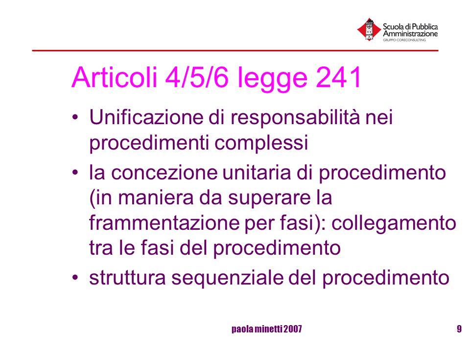 paola minetti 20079 Articoli 4/5/6 legge 241 Unificazione di responsabilità nei procedimenti complessi la concezione unitaria di procedimento (in mani