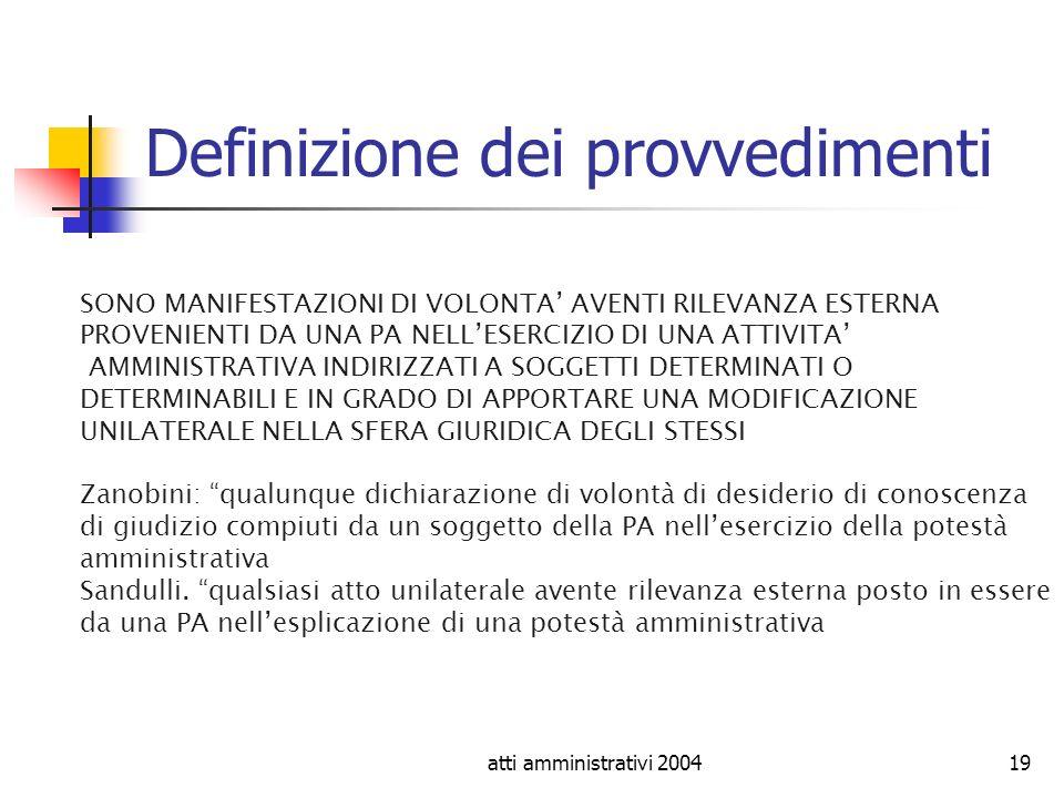 atti amministrativi 200419 Definizione dei provvedimenti SONO MANIFESTAZIONI DI VOLONTA AVENTI RILEVANZA ESTERNA PROVENIENTI DA UNA PA NELLESERCIZIO D