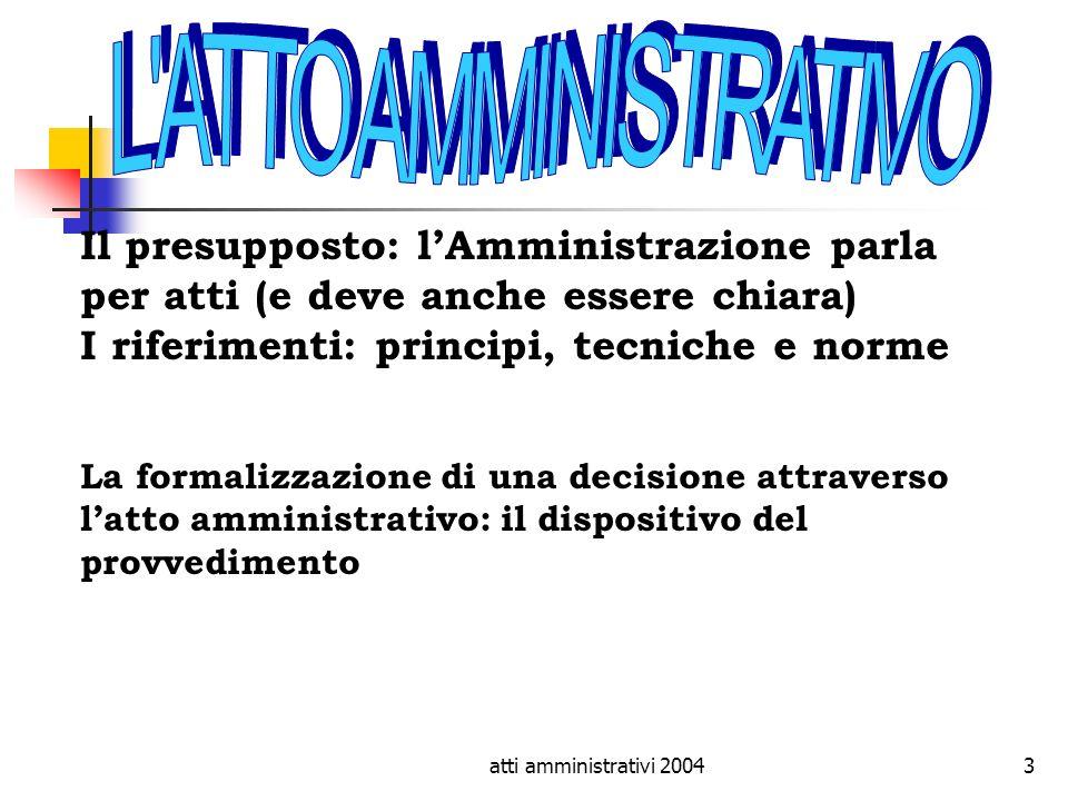 atti amministrativi 20043 Il presupposto: lAmministrazione parla per atti (e deve anche essere chiara) I riferimenti: principi, tecniche e norme La fo