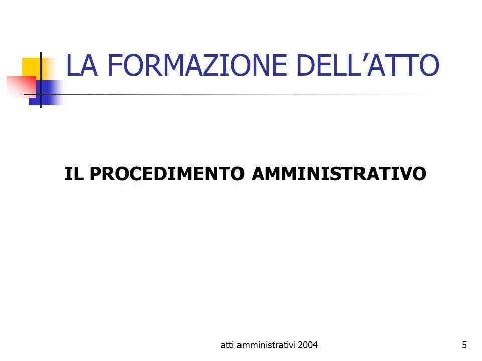 atti amministrativi 20045 LA FORMAZIONE DELLATTO IL PROCEDIMENTO AMMINISTRATIVO