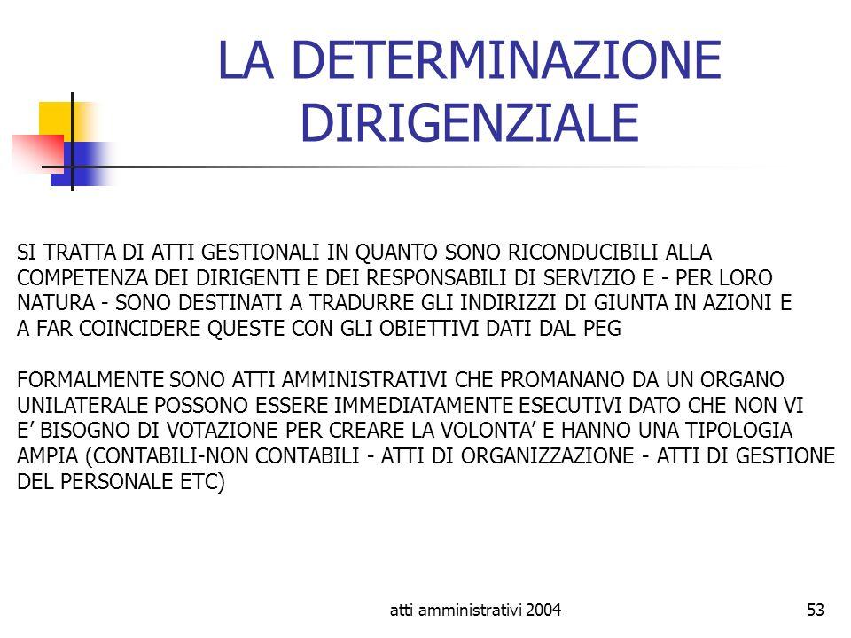 atti amministrativi 200453 LA DETERMINAZIONE DIRIGENZIALE SI TRATTA DI ATTI GESTIONALI IN QUANTO SONO RICONDUCIBILI ALLA COMPETENZA DEI DIRIGENTI E DE