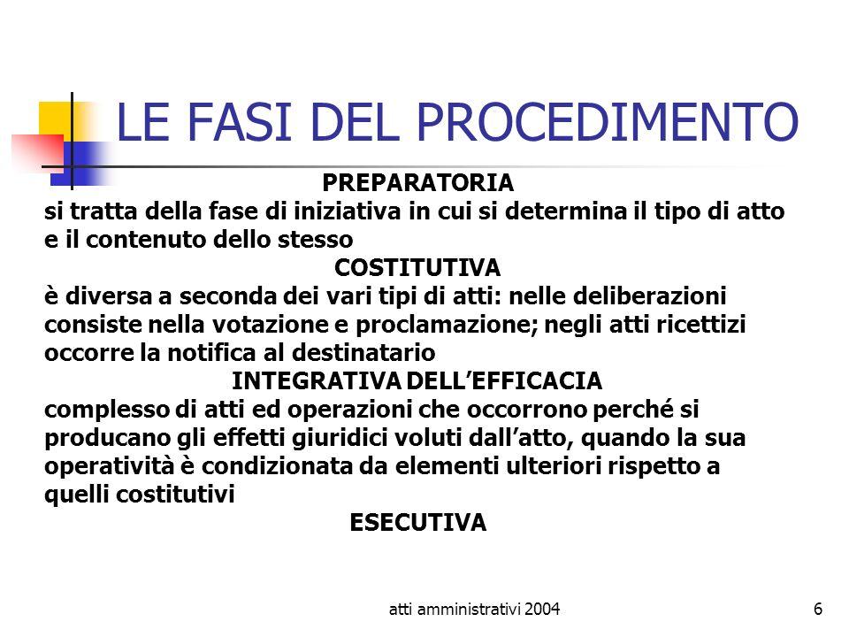 atti amministrativi 20046 LE FASI DEL PROCEDIMENTO PREPARATORIA si tratta della fase di iniziativa in cui si determina il tipo di atto e il contenuto