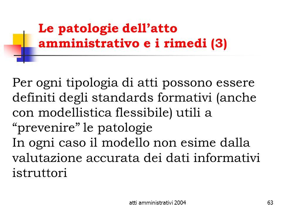 atti amministrativi 200463 Le patologie dellatto amministrativo e i rimedi (3) Per ogni tipologia di atti possono essere definiti degli standards form