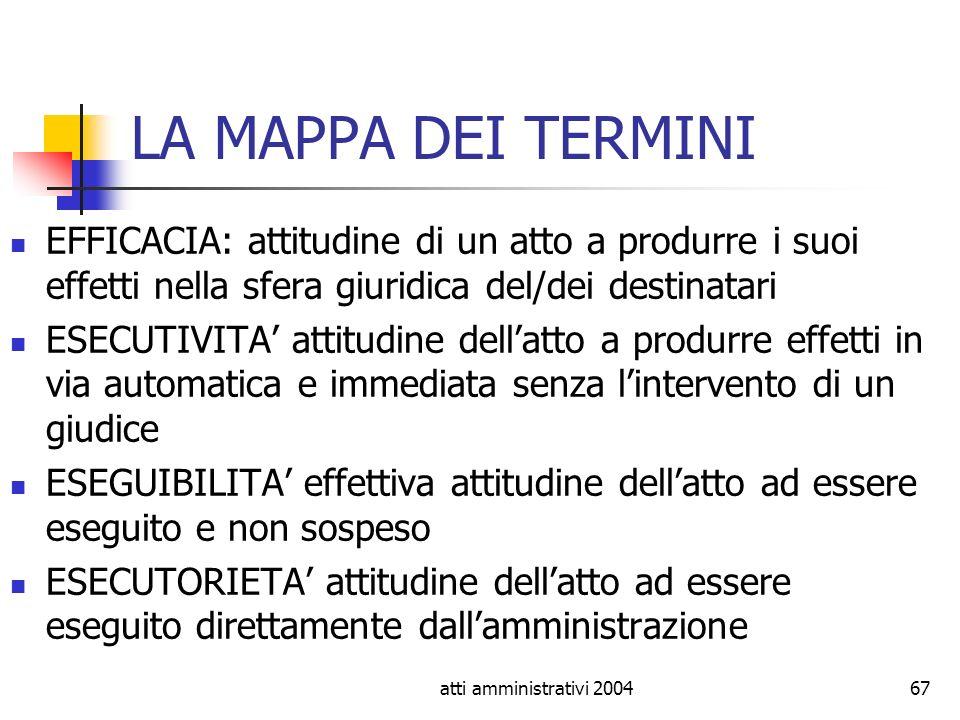 atti amministrativi 200467 LA MAPPA DEI TERMINI EFFICACIA: attitudine di un atto a produrre i suoi effetti nella sfera giuridica del/dei destinatari E