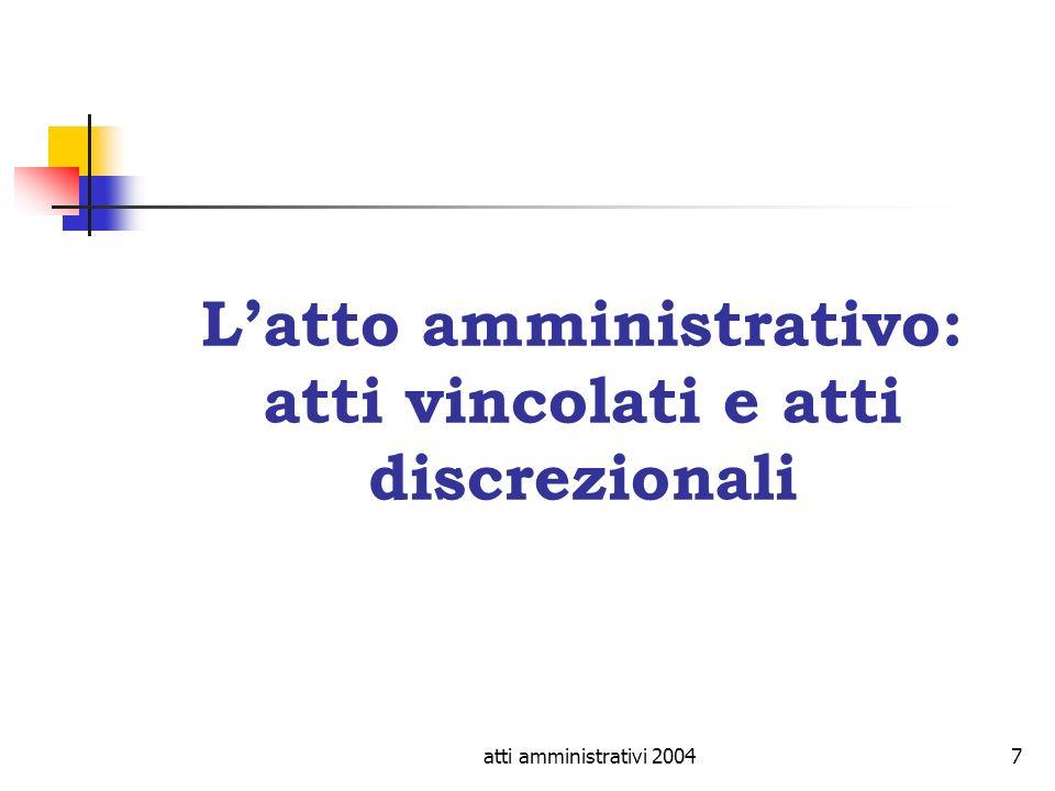 atti amministrativi 20047 Latto amministrativo: atti vincolati e atti discrezionali