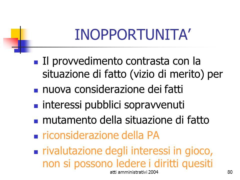 atti amministrativi 200480 INOPPORTUNITA Il provvedimento contrasta con la situazione di fatto (vizio di merito) per nuova considerazione dei fatti in