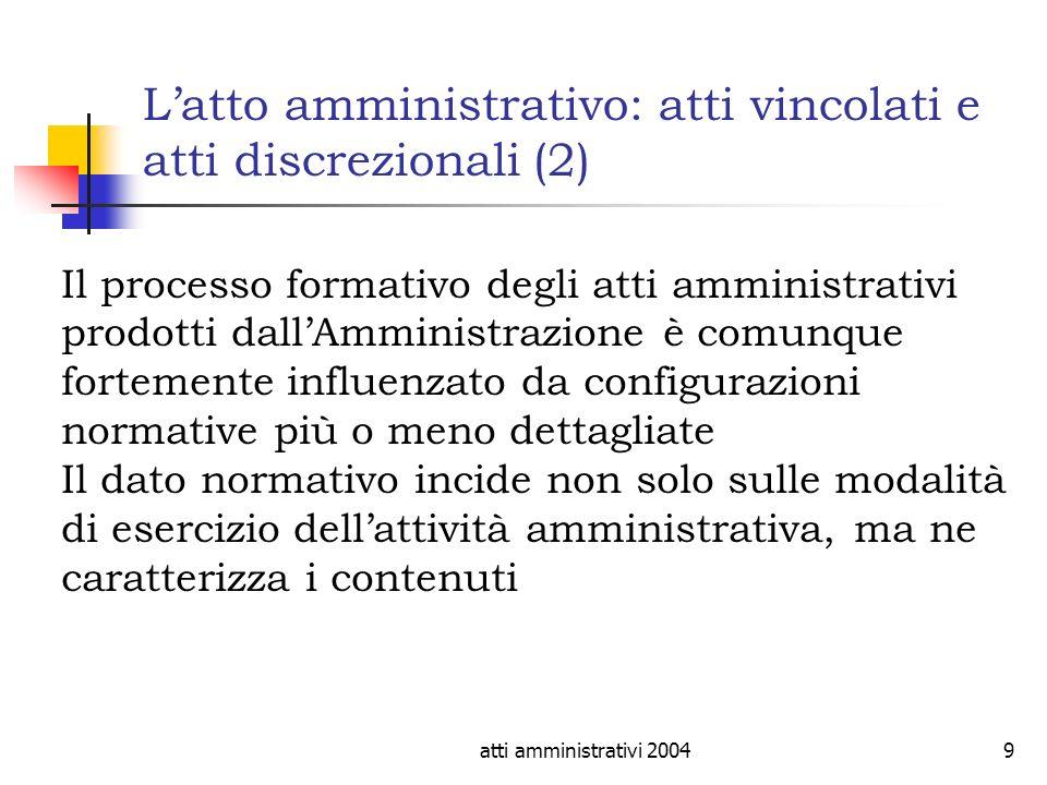 atti amministrativi 20049 Latto amministrativo: atti vincolati e atti discrezionali (2) Il processo formativo degli atti amministrativi prodotti dallA