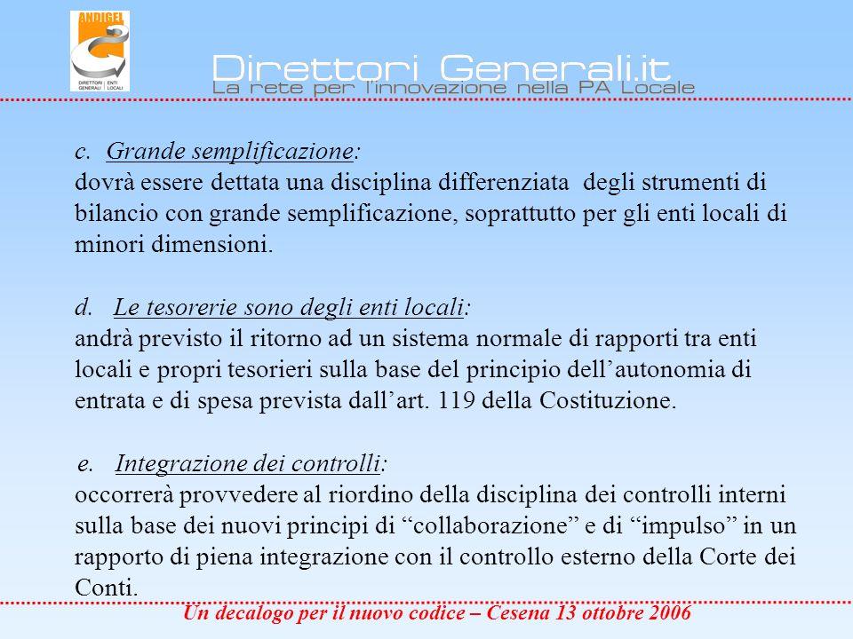 Un decalogo per il nuovo codice – Cesena 13 ottobre 2006 c.