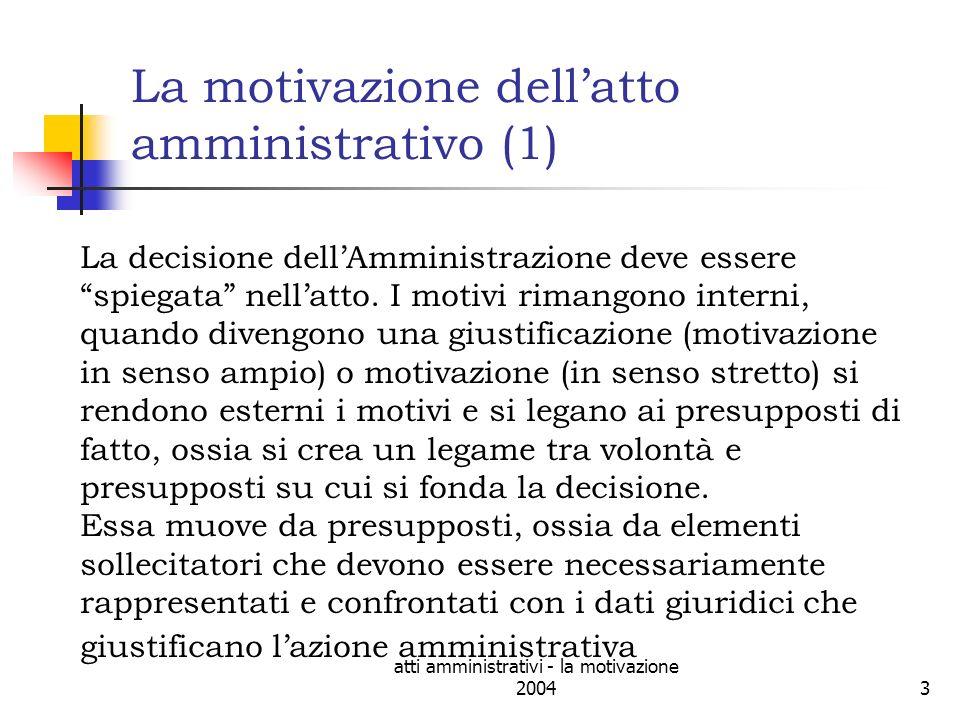 atti amministrativi - la motivazione 200414