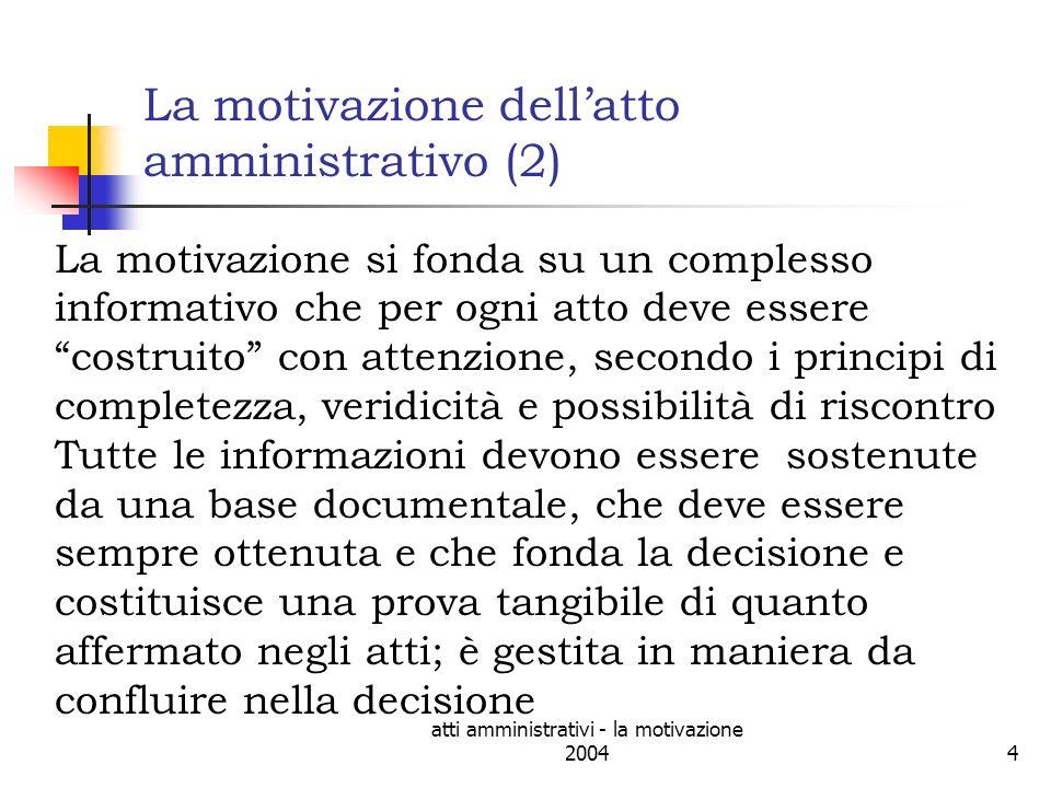 atti amministrativi - la motivazione 200415
