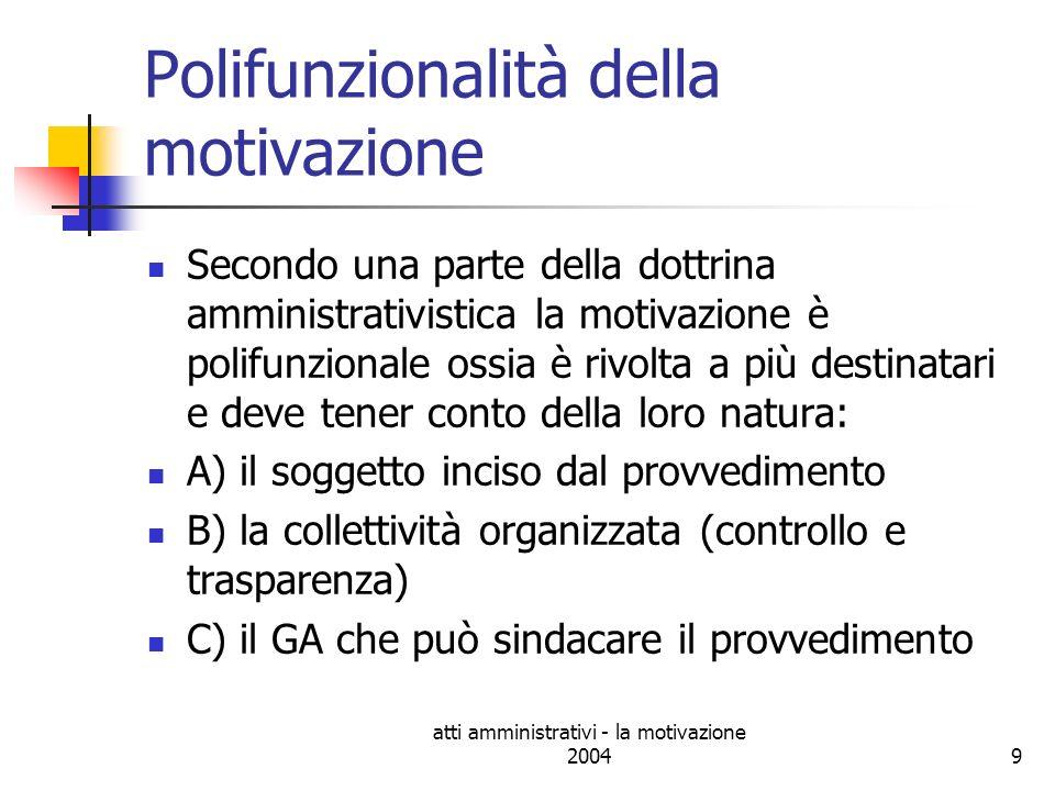 atti amministrativi - la motivazione 200420