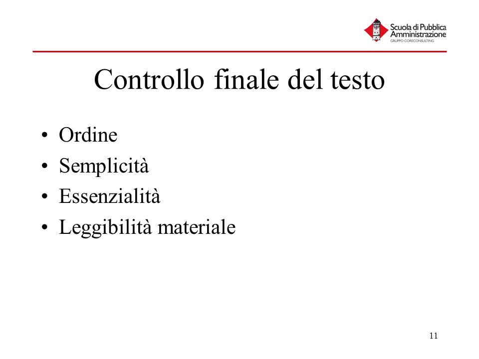 11 Controllo finale del testo Ordine Semplicità Essenzialità Leggibilità materiale