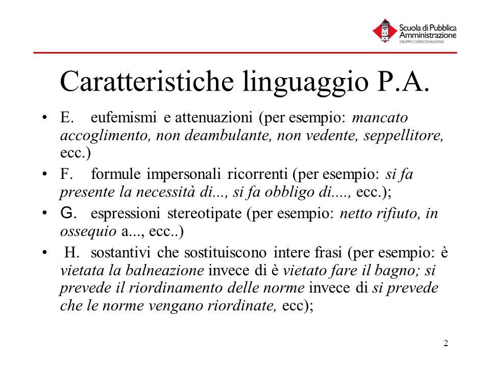 2 Caratteristiche linguaggio P.A. E.eufemismi e attenuazioni (per esempio: mancato accoglimento, non deambulante, non vedente, seppellitore, ecc.) F.f