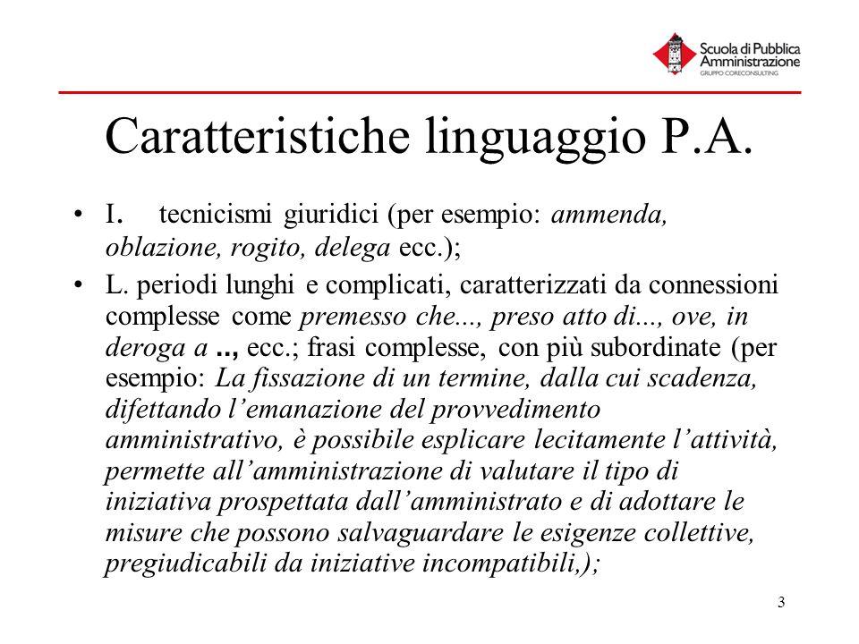 3 Caratteristiche linguaggio P.A. I. tecnicismi giuridici (per esempio: ammenda, oblazione, rogito, delega ecc.); L. periodi lunghi e complicati, cara