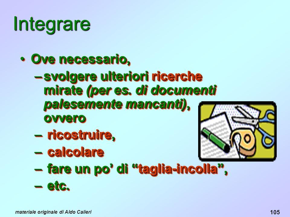 105 materiale originale di Aldo Calieri Integrare Ove necessario,Ove necessario, –svolgere ulteriori ricerche mirate (per es.