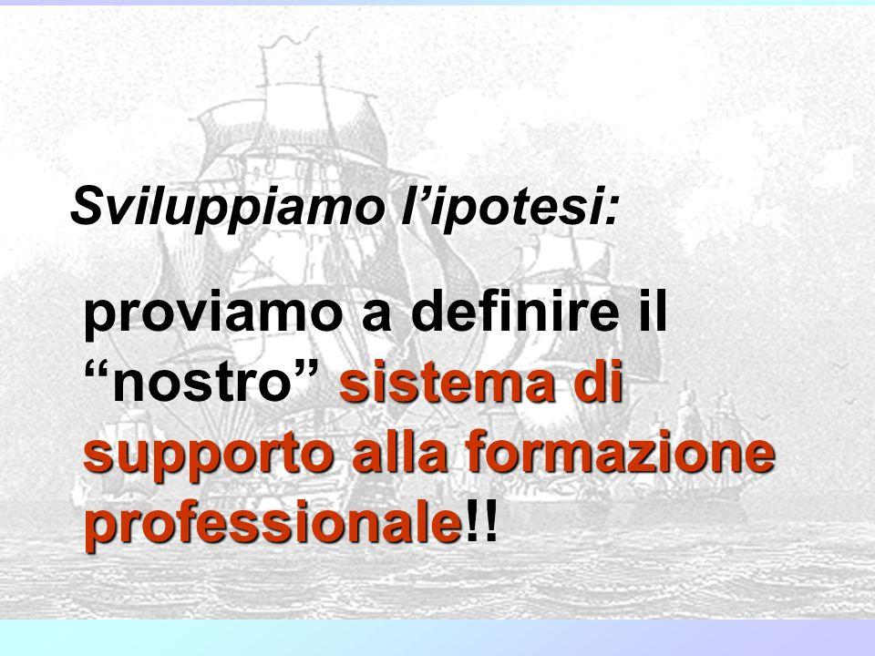Sviluppiamo lipotesi: proviamo a definire il nostro sistema di supporto alla formazione professionale professionale!!