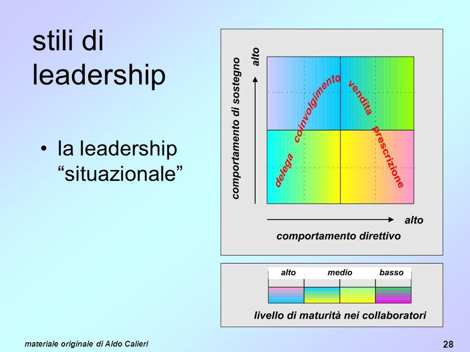 28 materiale originale di Aldo Calieri stili di leadership la leadership situazionale