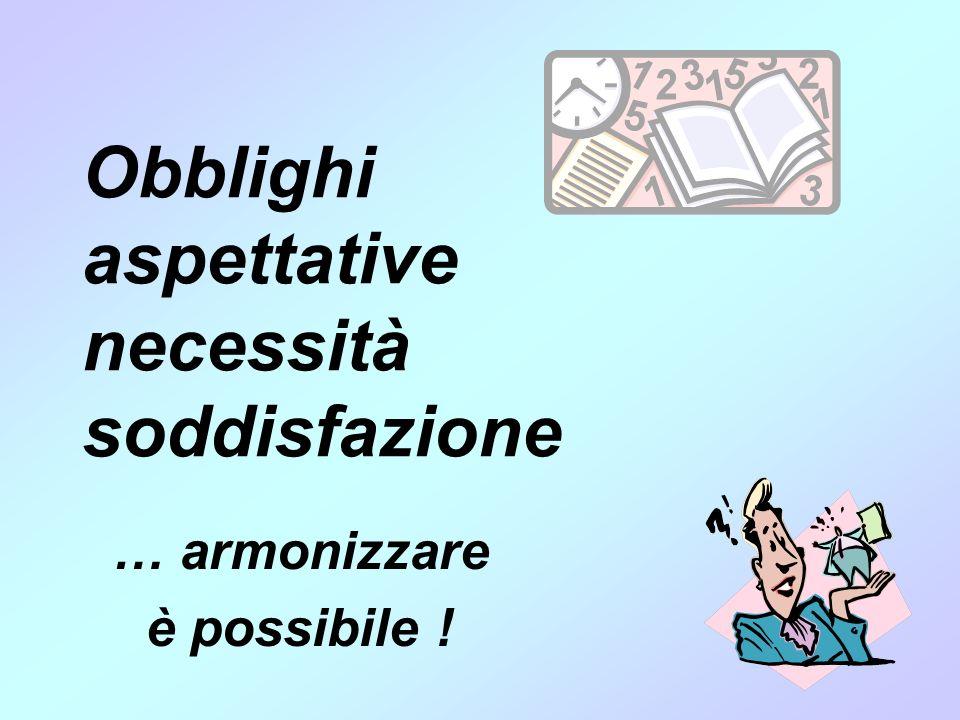 Obblighi aspettative necessità soddisfazione … armonizzare è possibile !
