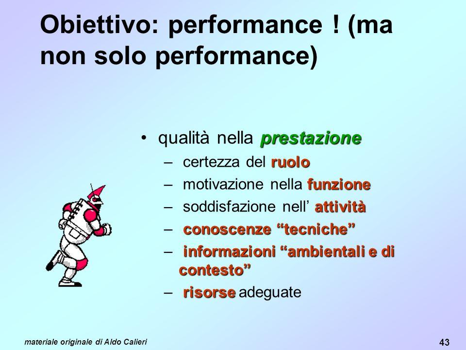 43 materiale originale di Aldo Calieri Obiettivo: performance .
