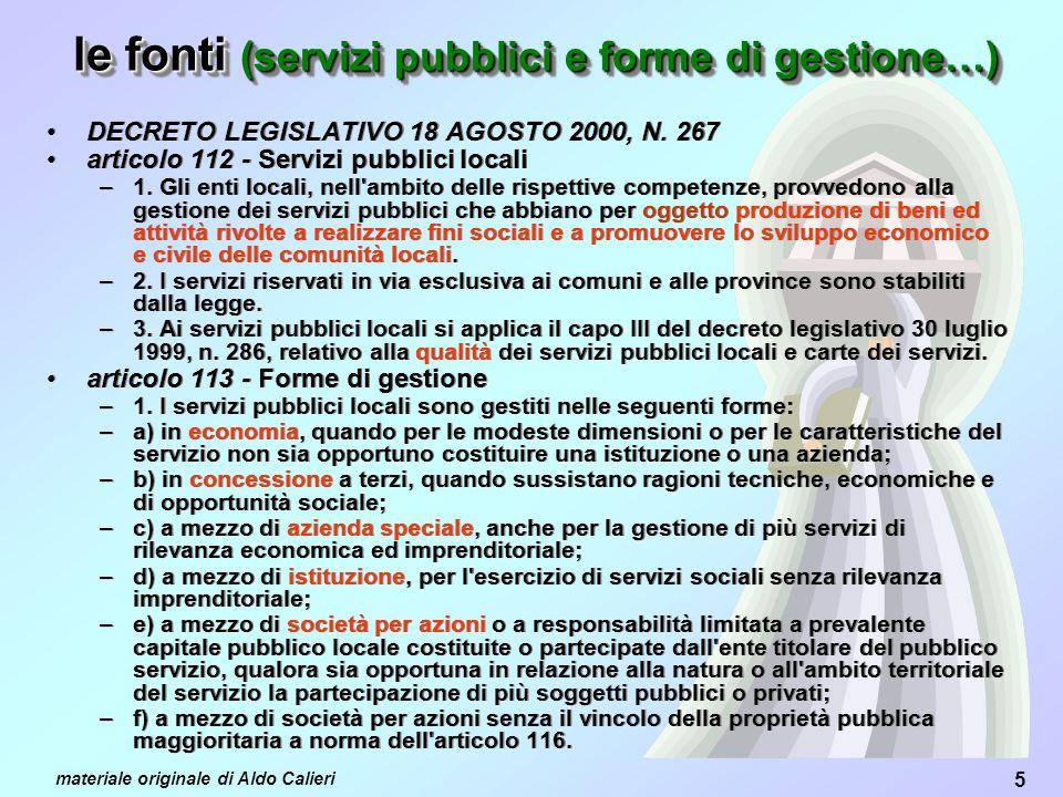 5 materiale originale di Aldo Calieri DECRETO LEGISLATIVO 18 AGOSTO 2000, N.