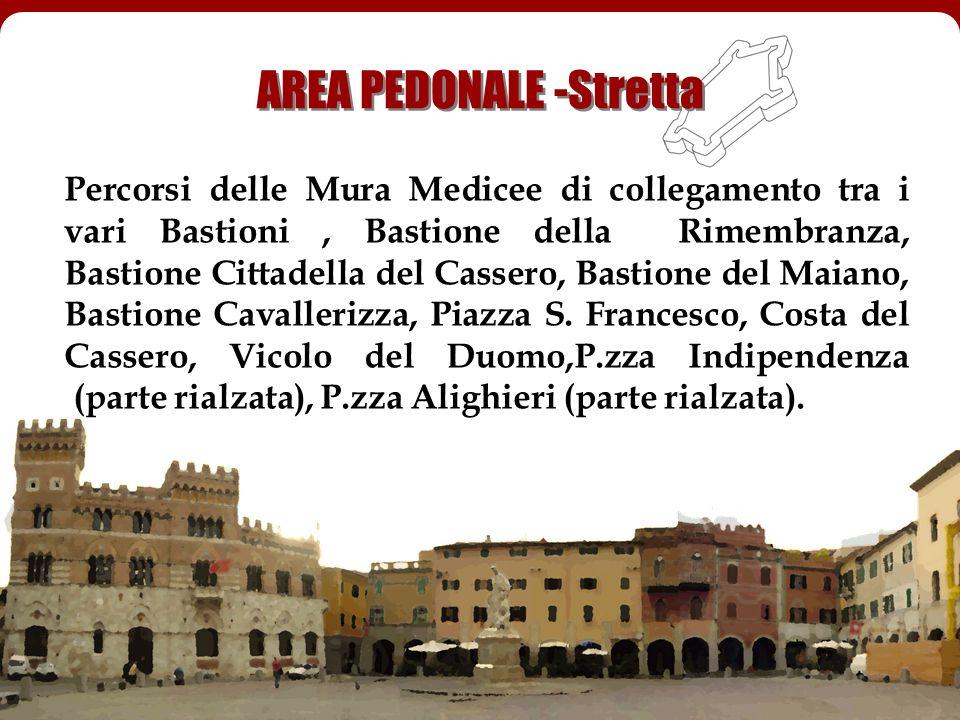 Percorsi delle Mura Medicee di collegamento tra i vari Bastioni, Bastione della Rimembranza, Bastione Cittadella del Cassero, Bastione del Maiano, Bas