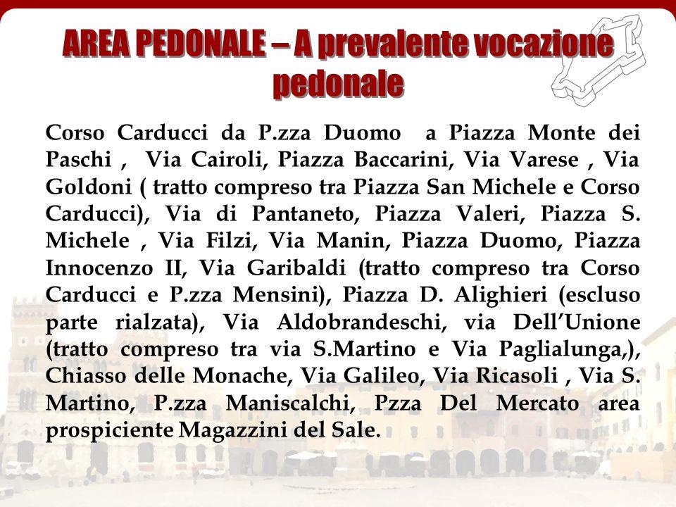 Corso Carducci da P.zza Duomo a Piazza Monte dei Paschi, Via Cairoli, Piazza Baccarini, Via Varese, Via Goldoni ( tratto compreso tra Piazza San Miche