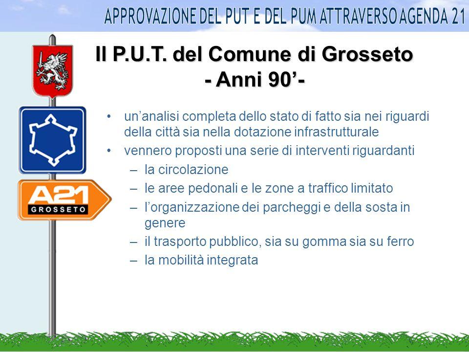 Il Piano Urbano del Traffico del Comune di Grosseto PUT anni 90 Aggiornamento PUT anno 1998 Aggiornamento PUT anno 2003