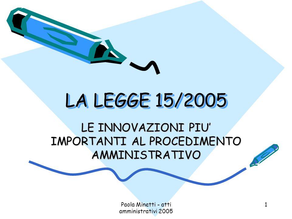 Paola Minetti - atti amministrativi 2005 1 LA LEGGE 15/2005 LE INNOVAZIONI PIU IMPORTANTI AL PROCEDIMENTO AMMINISTRATIVO