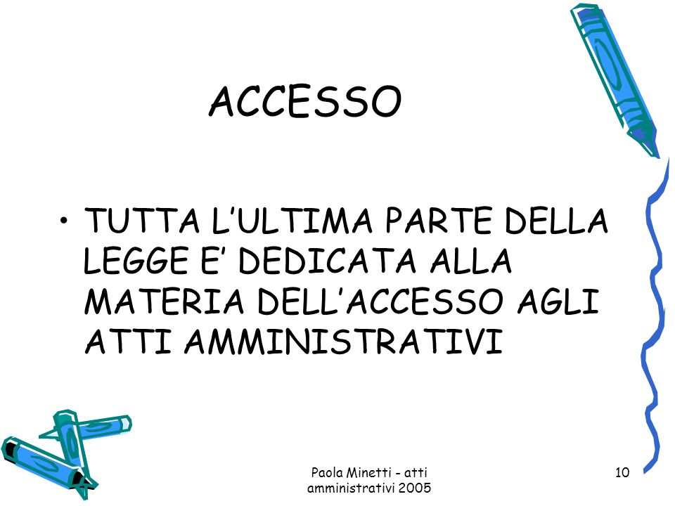 Paola Minetti - atti amministrativi 2005 10 ACCESSO TUTTA LULTIMA PARTE DELLA LEGGE E DEDICATA ALLA MATERIA DELLACCESSO AGLI ATTI AMMINISTRATIVI