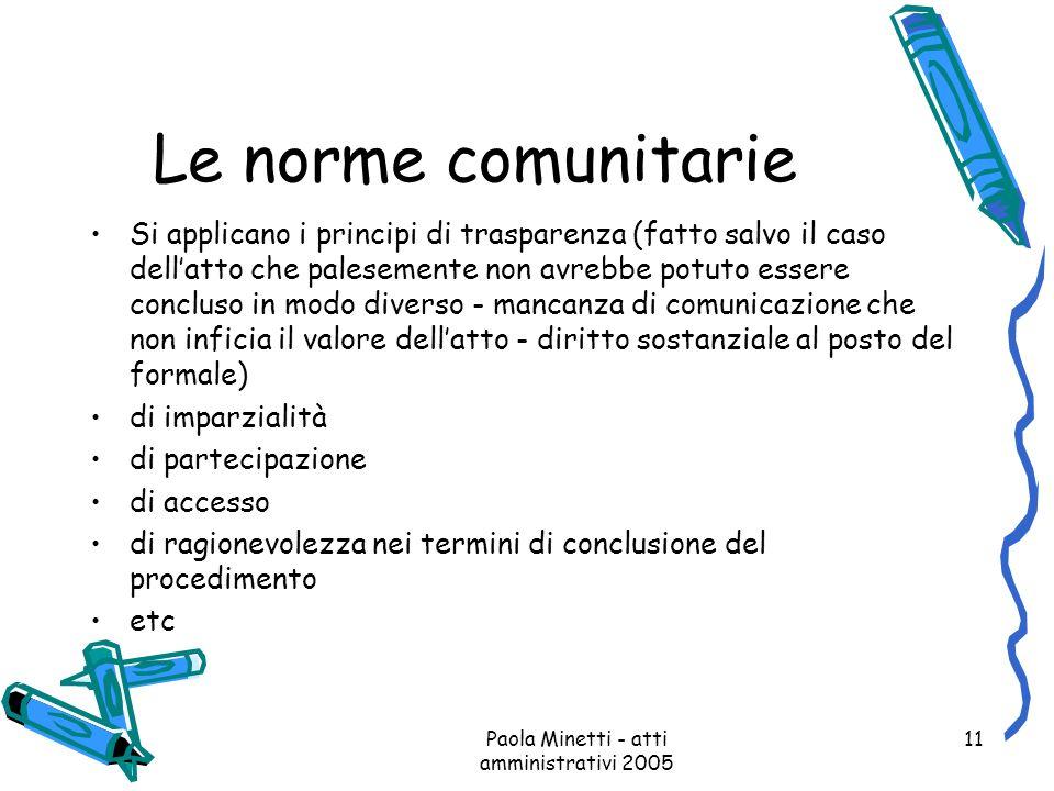 Paola Minetti - atti amministrativi 2005 11 Le norme comunitarie Si applicano i principi di trasparenza (fatto salvo il caso dellatto che palesemente