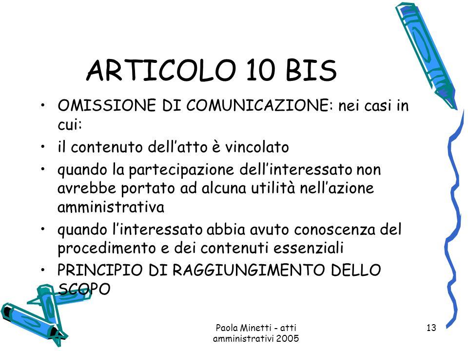 Paola Minetti - atti amministrativi 2005 13 ARTICOLO 10 BIS OMISSIONE DI COMUNICAZIONE: nei casi in cui: il contenuto dellatto è vincolato quando la p