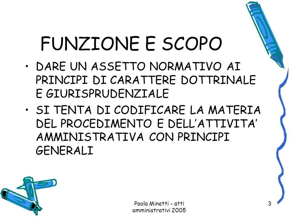 Paola Minetti - atti amministrativi 2005 3 FUNZIONE E SCOPO DARE UN ASSETTO NORMATIVO AI PRINCIPI DI CARATTERE DOTTRINALE E GIURISPRUDENZIALE SI TENTA