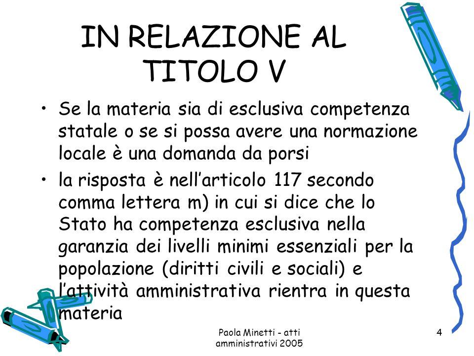 Paola Minetti - atti amministrativi 2005 4 IN RELAZIONE AL TITOLO V Se la materia sia di esclusiva competenza statale o se si possa avere una normazio