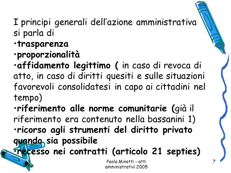Paola Minetti - atti amministrativi 2005 7 I principi generali dellazione amministrativa si parla di trasparenza proporzionalità affidamento legittimo