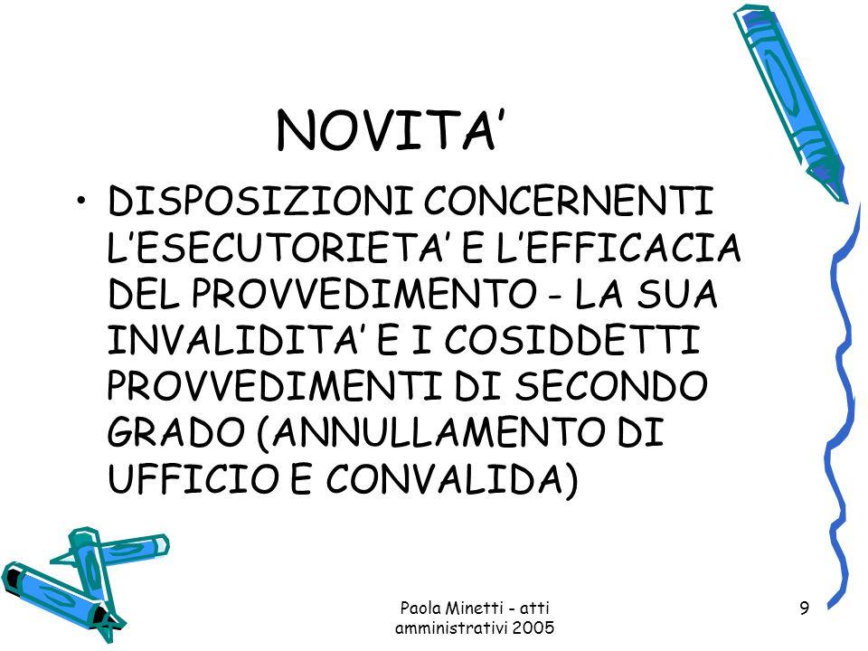 Paola Minetti - atti amministrativi 2005 9 NOVITA DISPOSIZIONI CONCERNENTI LESECUTORIETA E LEFFICACIA DEL PROVVEDIMENTO - LA SUA INVALIDITA E I COSIDD