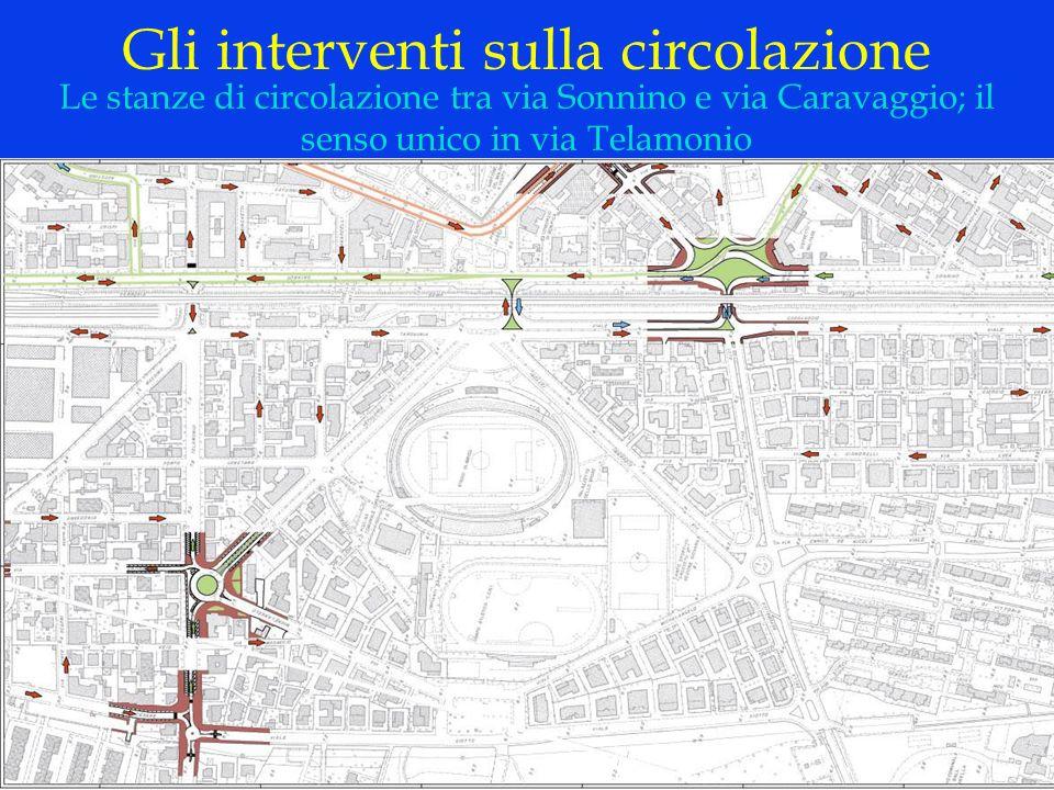 LOGO DELLA SOCIETÀ Gli interventi sulla circolazione Le stanze di circolazione tra via Sonnino e via Caravaggio; il senso unico in via Telamonio