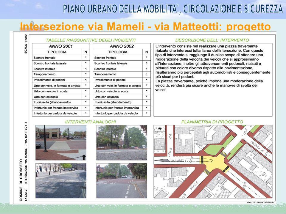 Intersezione via Mameli - via Matteotti: progetto