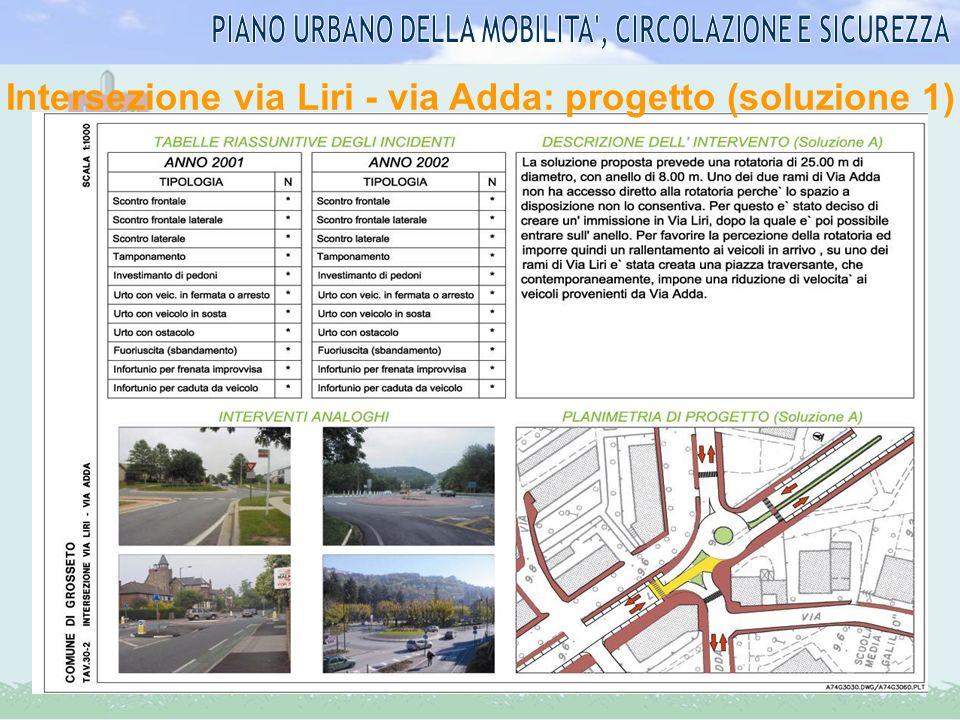 Intersezione via Liri - via Adda: progetto (soluzione 1)