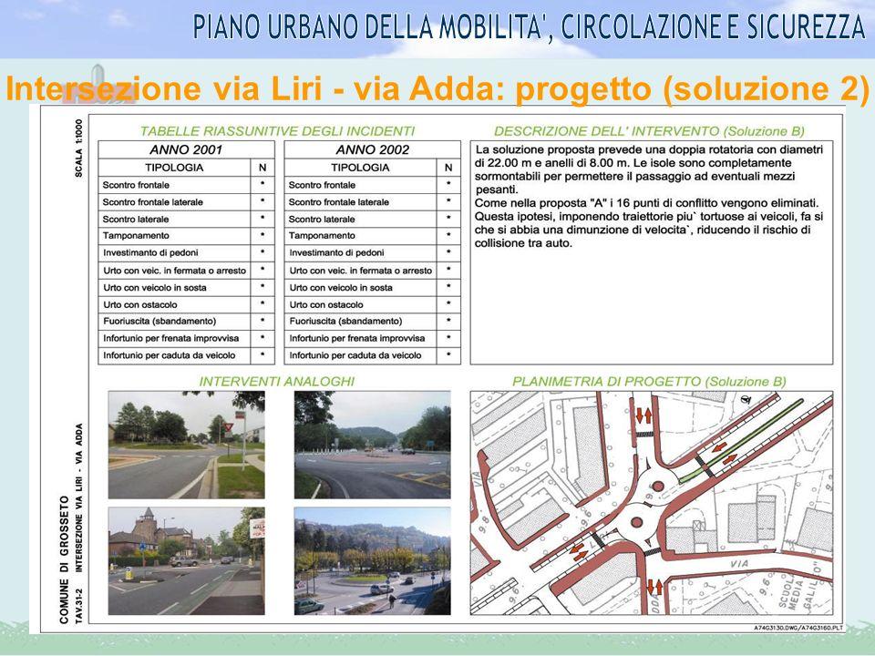 Intersezione via Liri - via Adda: progetto (soluzione 2)