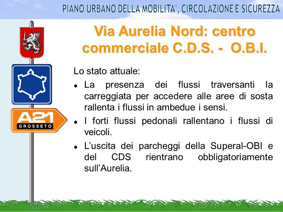 Via Aurelia Nord: centro commerciale C.D.S. - O.B.I. Lo stato attuale: La presenza dei flussi traversanti la carreggiata per accedere alle aree di sos