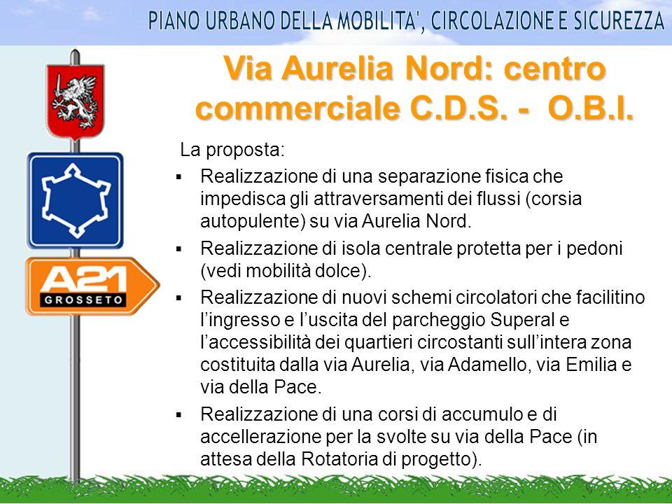 Via Aurelia Nord: centro commerciale C.D.S. - O.B.I. La proposta: Realizzazione di una separazione fisica che impedisca gli attraversamenti dei flussi