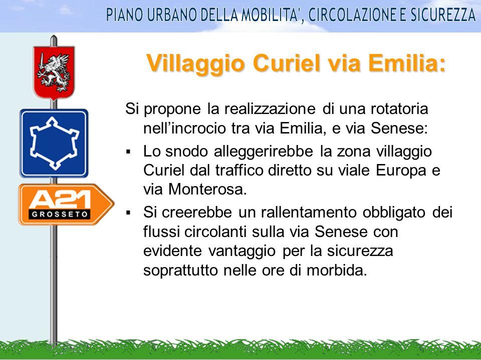 Villaggio Curiel via Emilia: Si propone la realizzazione di una rotatoria nellincrocio tra via Emilia, e via Senese: Lo snodo alleggerirebbe la zona v