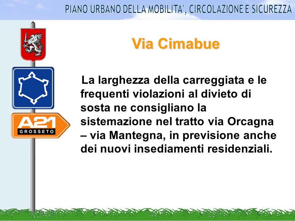 Zona di via Sicilia Stato attuale: Le dimensioni della carreggiata stradale rendono difficoltosi gli scambi nei due sensi.